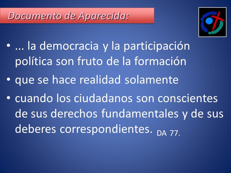 Documento de Aparecida: Documento de Aparecida: Documento de Aparecida:... la democracia y la participación política son fruto de la formación que se