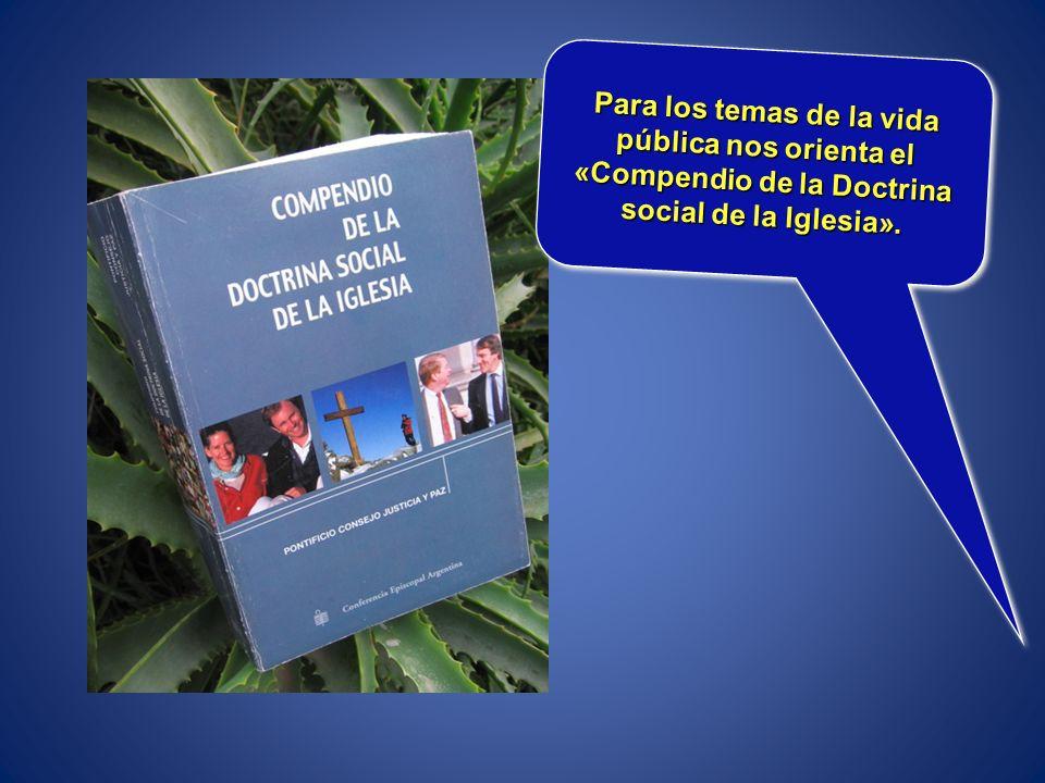 Para los temas de la vida pública nos orienta el «Compendio de la Doctrina social de la Iglesia».