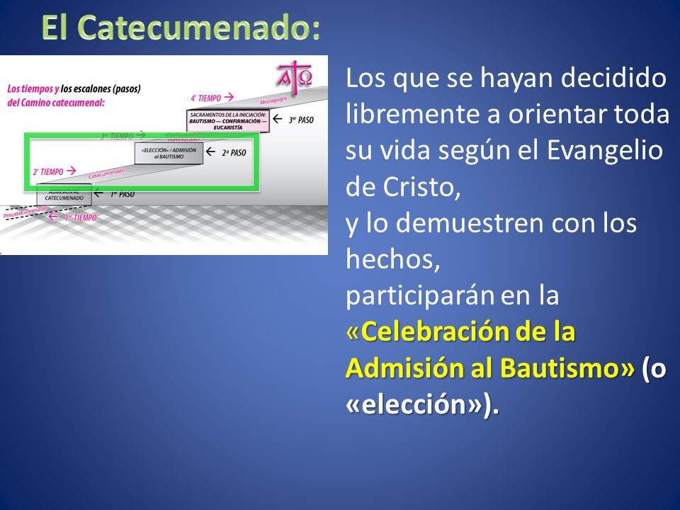 Los que se hayan decidido libremente a orientar toda su vida según el Evangelio de Cristo, y lo demuestren con los hechos, «Celebración de la Admisión