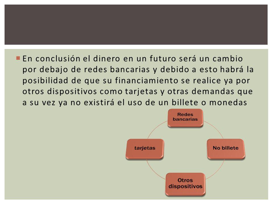 En conclusión el dinero en un futuro será un cambio por debajo de redes bancarias y debido a esto habrá la posibilidad de que su financiamiento se rea