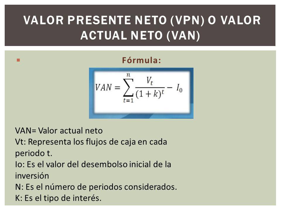 Fórmula: VALOR PRESENTE NETO (VPN) O VALOR ACTUAL NETO (VAN) VAN= Valor actual neto Vt: Representa los flujos de caja en cada periodo t. Io: Es el val