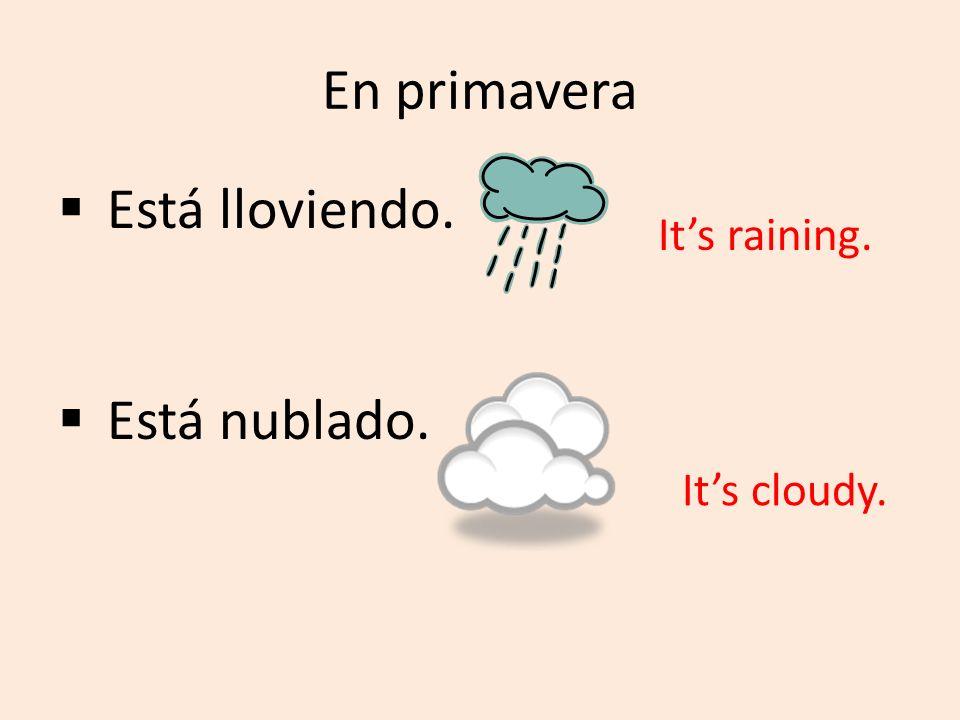 En primavera Está lloviendo. Está nublado. Its raining. Its cloudy.