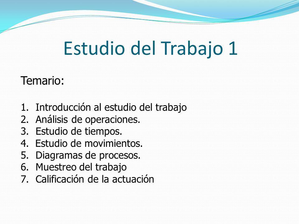 Estudio del Trabajo 1 Temario: 1.Introducción al estudio del trabajo 2.Análisis de operaciones. 3.Estudio de tiempos. 4. Estudio de movimientos. 5.Dia