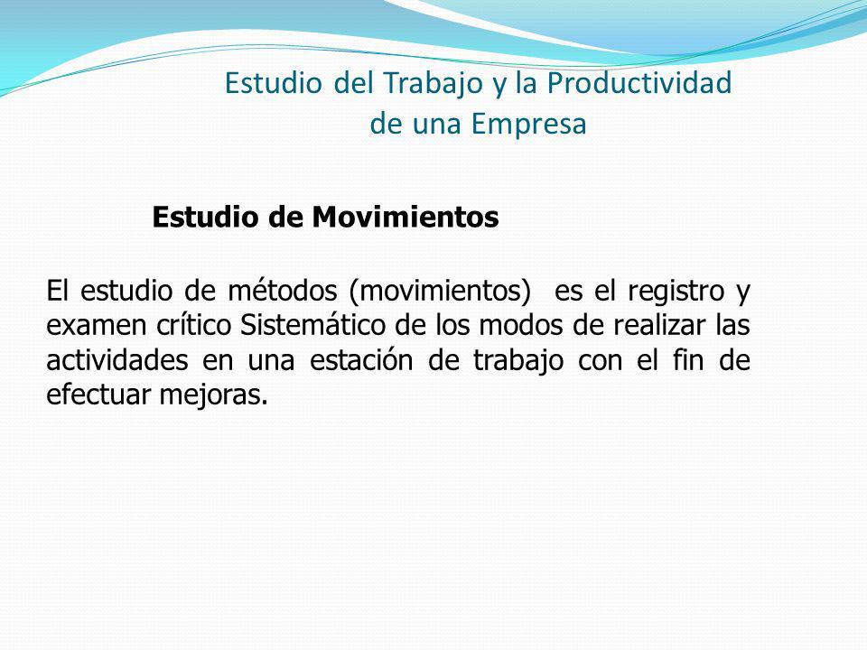 Estudio del Trabajo y la Productividad de una Empresa Estudio de Movimientos El estudio de métodos (movimientos) es el registro y examen crítico Sistemático de los modos de realizar las actividades en una estación de trabajo con el fin de efectuar mejoras.