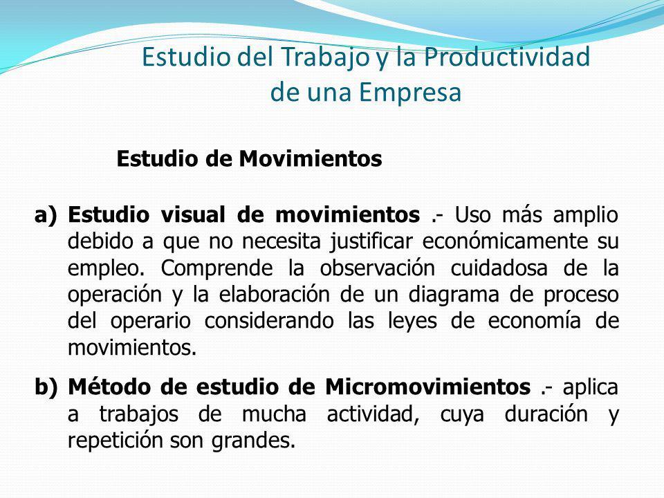 Estudio del Trabajo y la Productividad de una Empresa Estudio de Movimientos a)Estudio visual de movimientos.- Uso más amplio debido a que no necesita justificar económicamente su empleo.