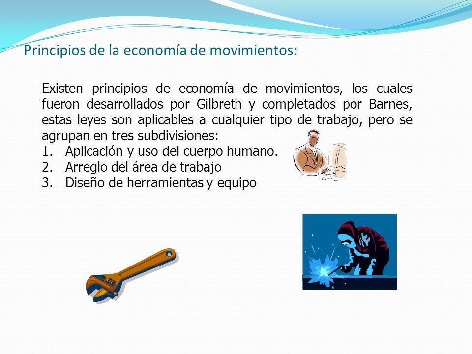 Principios de la economía de movimientos: Existen principios de economía de movimientos, los cuales fueron desarrollados por Gilbreth y completados po