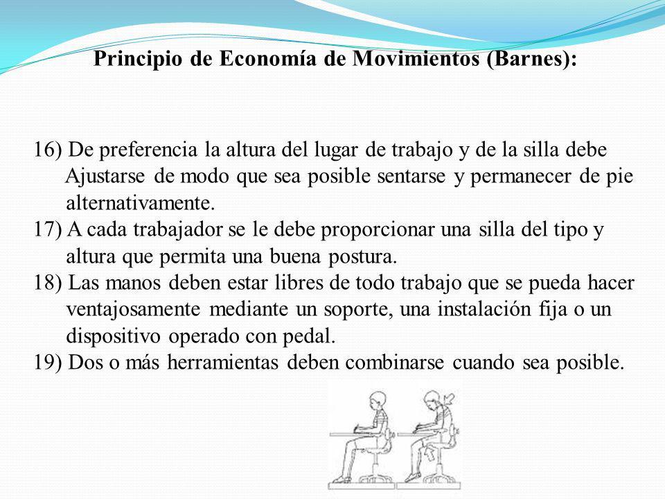 Principio de Economía de Movimientos (Barnes): 16) De preferencia la altura del lugar de trabajo y de la silla debe Ajustarse de modo que sea posible sentarse y permanecer de pie alternativamente.