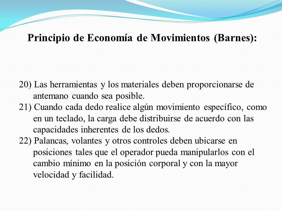 Principio de Economía de Movimientos (Barnes): 20) Las herramientas y los materiales deben proporcionarse de antemano cuando sea posible. 21) Cuando c