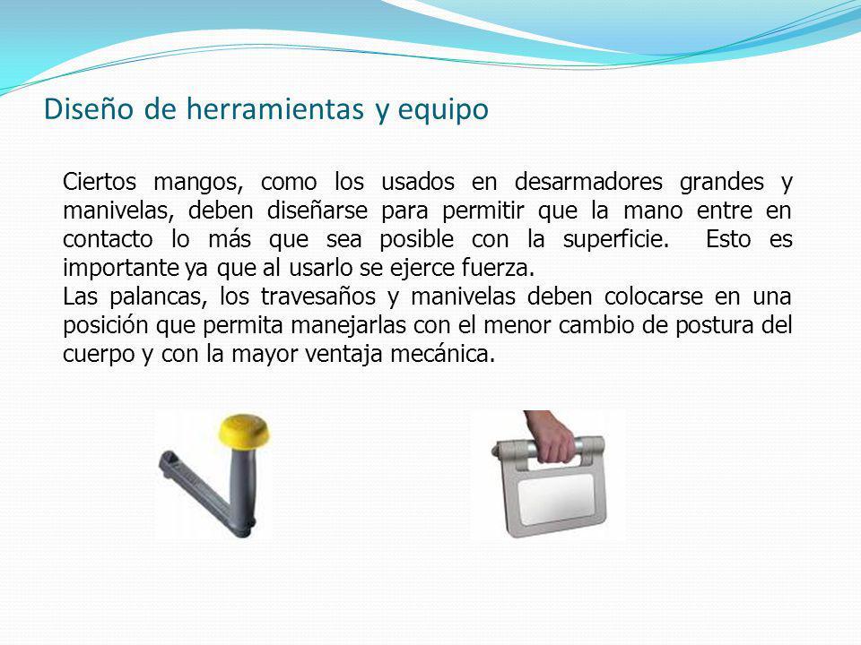 Diseño de herramientas y equipo Ciertos mangos, como los usados en desarmadores grandes y manivelas, deben diseñarse para permitir que la mano entre en contacto lo más que sea posible con la superficie.