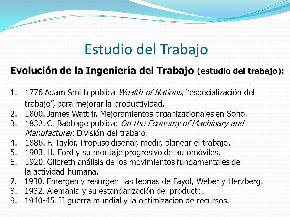 Estudio del Trabajo Evolución de la Ingeniería del Trabajo (estudio del trabajo): 1.1776 Adam Smith publica Wealth of Nations, especialización del tra