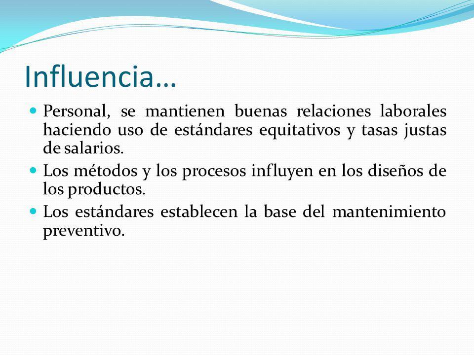 Influencia… Personal, se mantienen buenas relaciones laborales haciendo uso de estándares equitativos y tasas justas de salarios. Los métodos y los pr