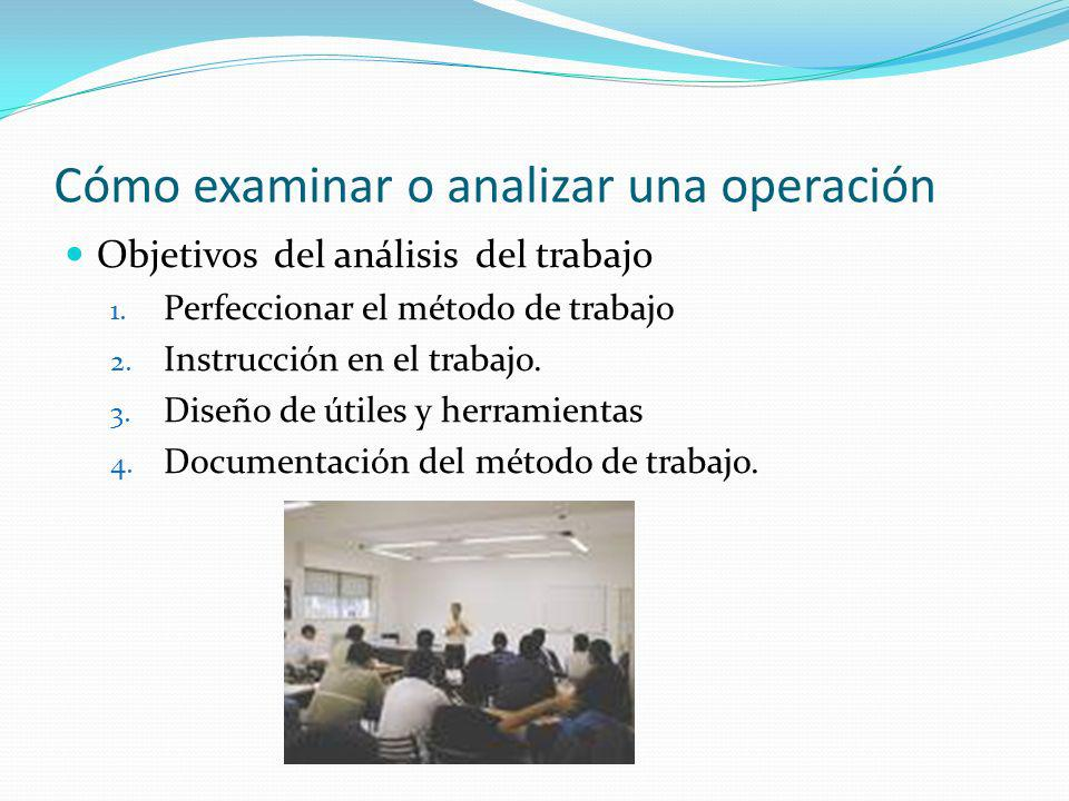 Cómo examinar o analizar una operación Objetivos del análisis del trabajo 1. Perfeccionar el método de trabajo 2. Instrucción en el trabajo. 3. Diseño
