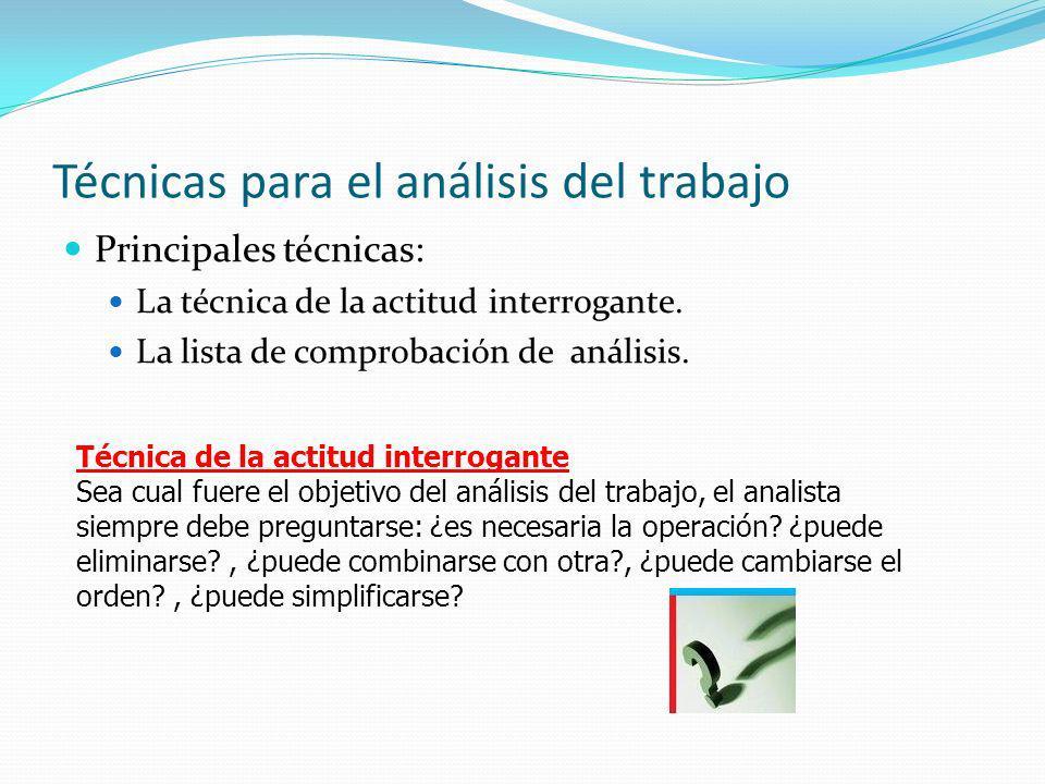 Técnicas para el análisis del trabajo Principales técnicas: La técnica de la actitud interrogante. La lista de comprobación de análisis. Técnica de la