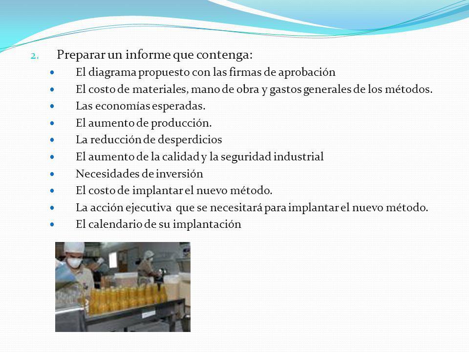 2. Preparar un informe que contenga: El diagrama propuesto con las firmas de aprobación El costo de materiales, mano de obra y gastos generales de los