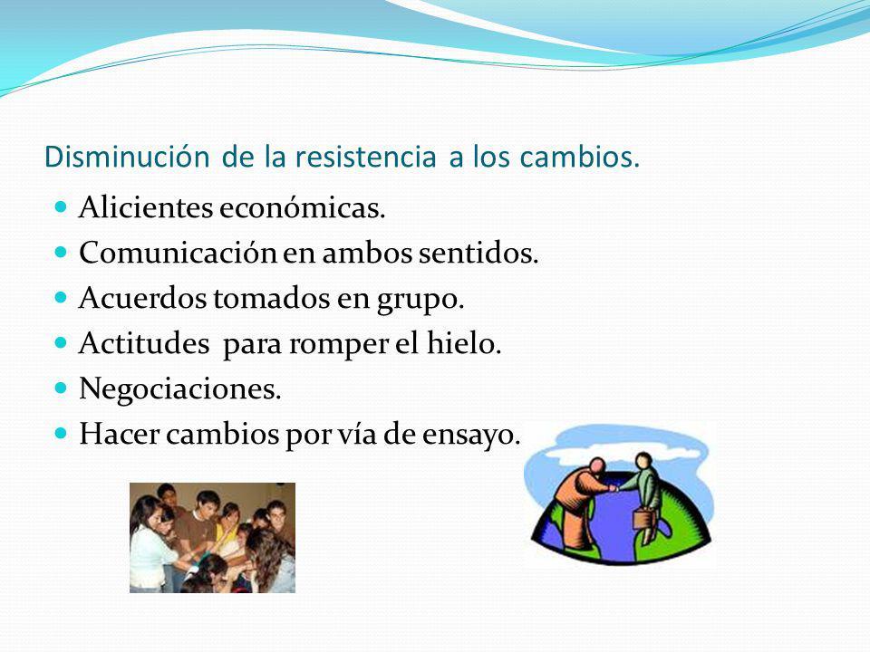 Disminución de la resistencia a los cambios. Alicientes económicas. Comunicación en ambos sentidos. Acuerdos tomados en grupo. Actitudes para romper e