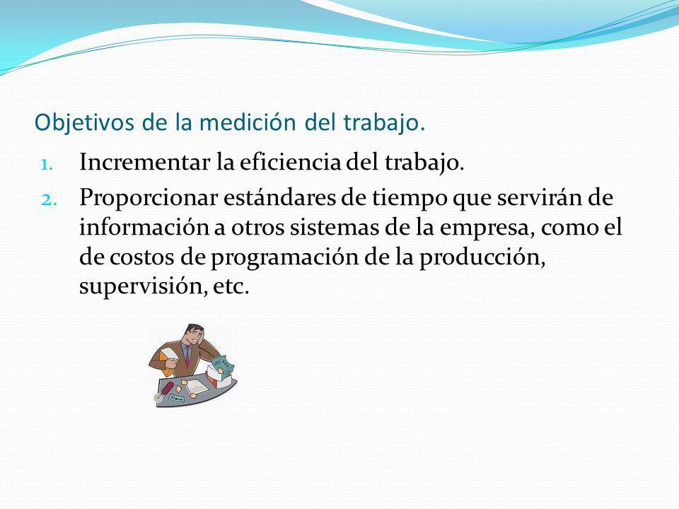 Objetivos de la medición del trabajo. 1. Incrementar la eficiencia del trabajo. 2. Proporcionar estándares de tiempo que servirán de información a otr