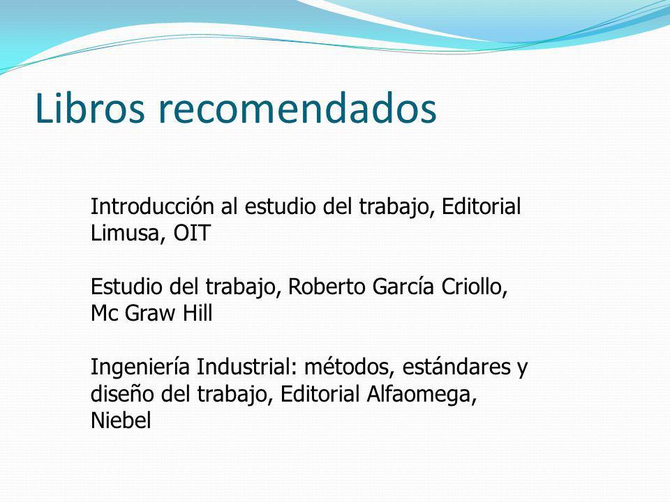 Libros recomendados Introducción al estudio del trabajo, Editorial Limusa, OIT Estudio del trabajo, Roberto García Criollo, Mc Graw Hill Ingeniería In