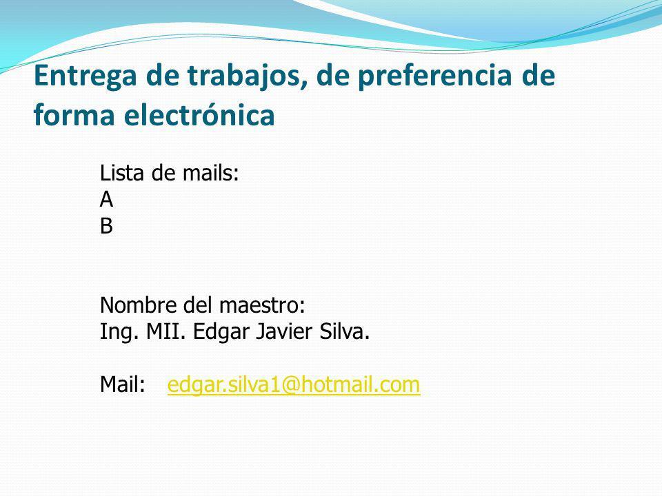 Entrega de trabajos, de preferencia de forma electrónica Lista de mails: A B Nombre del maestro: Ing. MII. Edgar Javier Silva. Mail: edgar.silva1@hotm