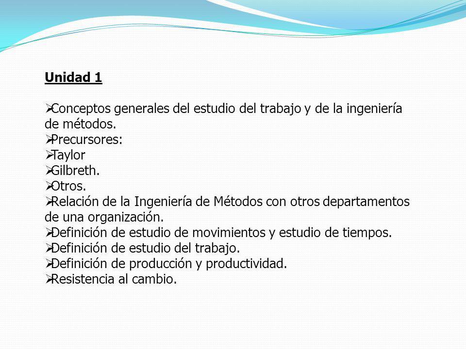 Unidad 1 Conceptos generales del estudio del trabajo y de la ingeniería de métodos. Precursores: Taylor Gilbreth. Otros. Relación de la Ingeniería de