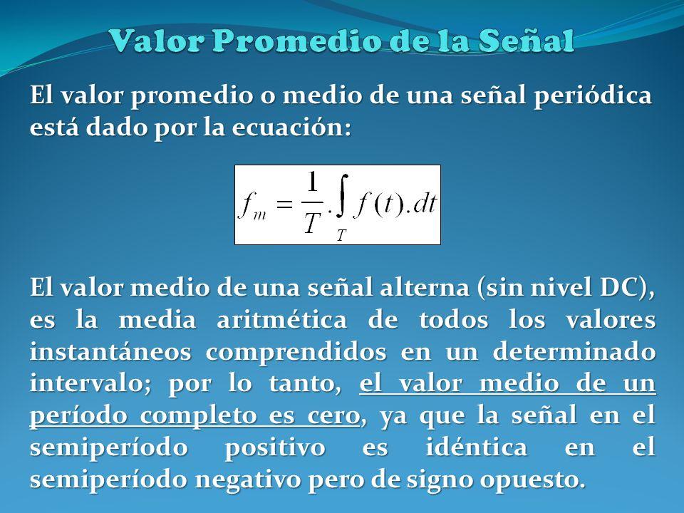 El valor promedio o medio de una señal periódica está dado por la ecuación: El valor medio de una señal alterna (sin nivel DC), es la media aritmética