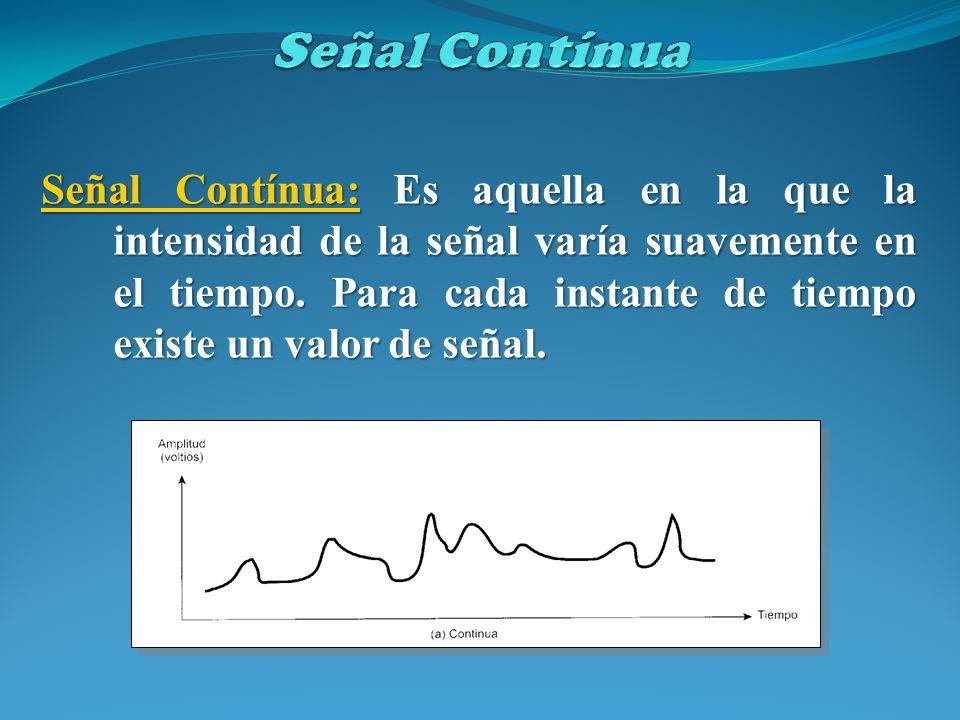 Señal Contínua: Es aquella en la que la intensidad de la señal varía suavemente en el tiempo. Para cada instante de tiempo existe un valor de señal.
