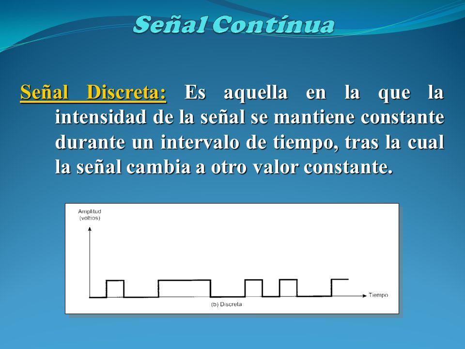 Señal Discreta: Es aquella en la que la intensidad de la señal se mantiene constante durante un intervalo de tiempo, tras la cual la señal cambia a ot