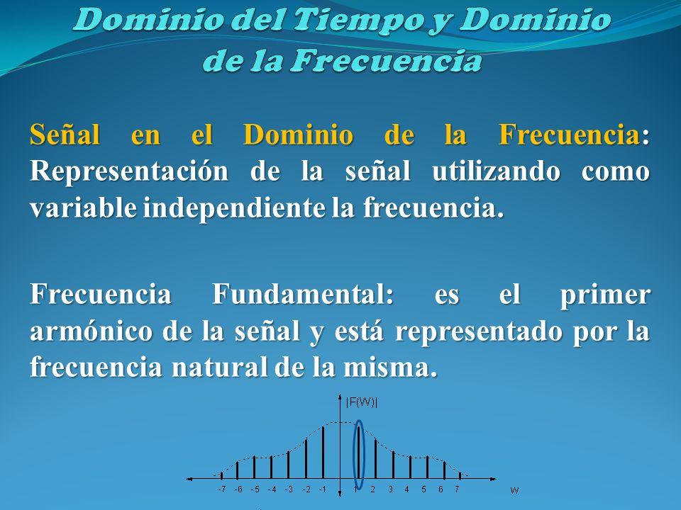 Señal en el Dominio de la Frecuencia: Representación de la señal utilizando como variable independiente la frecuencia. Frecuencia Fundamental: es el p