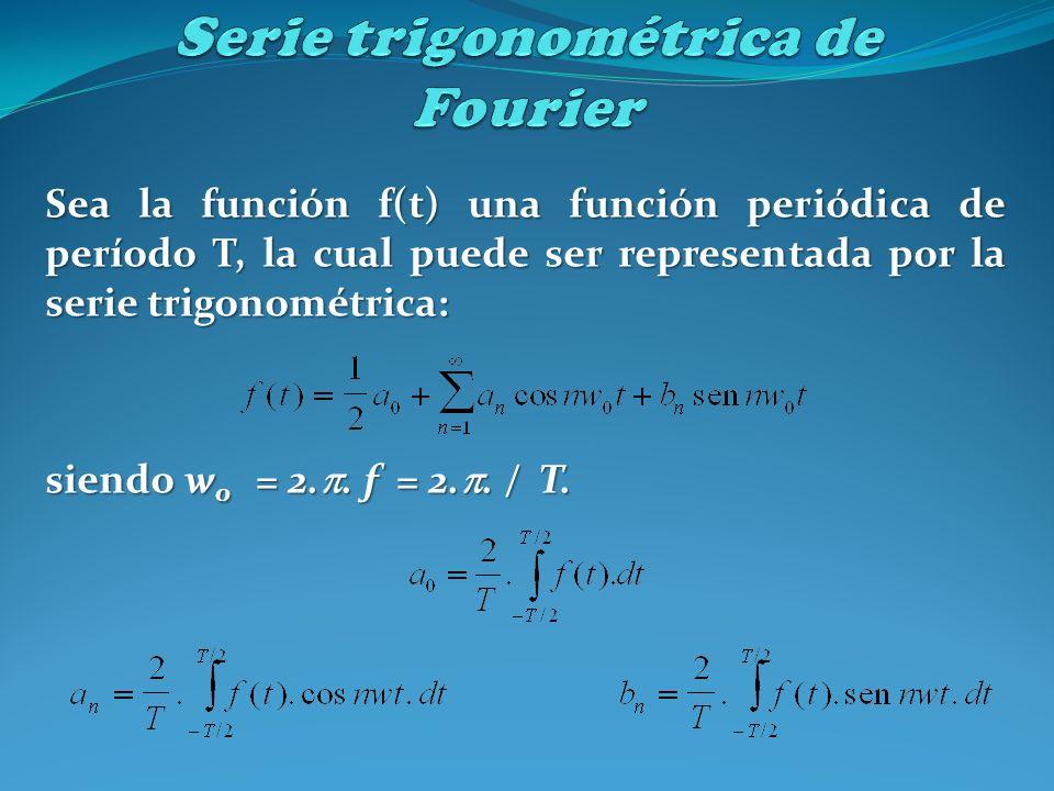 Sea la función f(t) una función periódica de período T, la cual puede ser representada por la serie trigonométrica: siendo w 0 = 2.. f = 2.. / T.