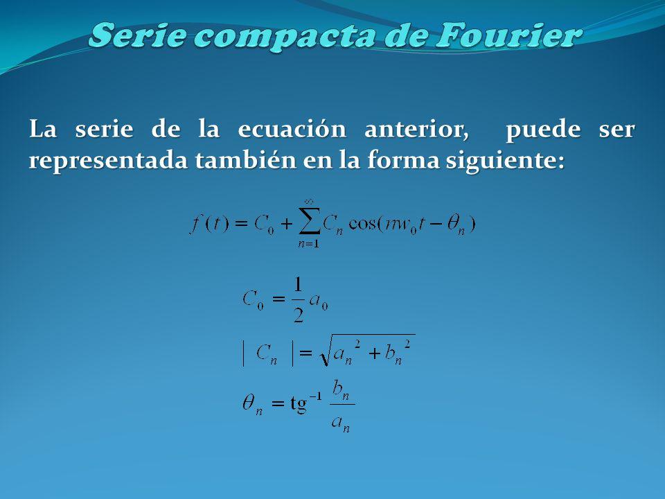 La serie de la ecuación anterior, puede ser representada también en la forma siguiente: