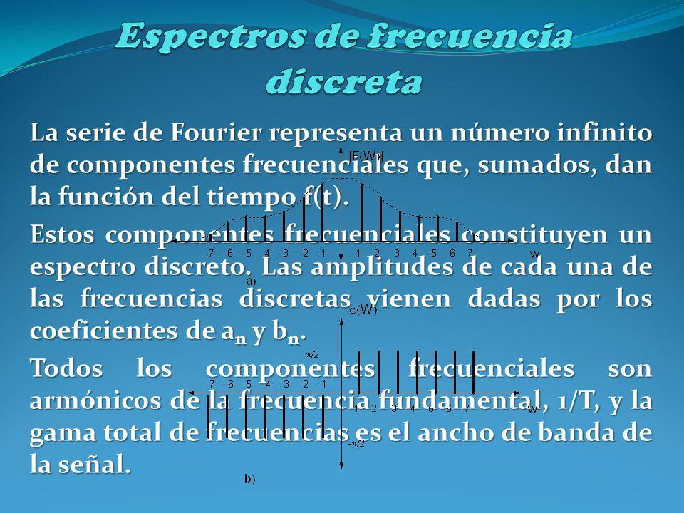 La serie de Fourier representa un número infinito de componentes frecuenciales que, sumados, dan la función del tiempo f(t). Estos componentes frecuen
