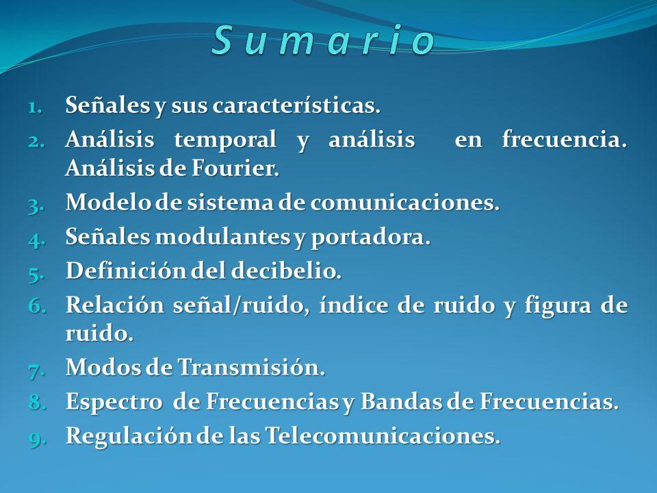 1. Señales y sus características. 2. Análisis temporal y análisis en frecuencia. Análisis de Fourier. 3. Modelo de sistema de comunicaciones. 4. Señal