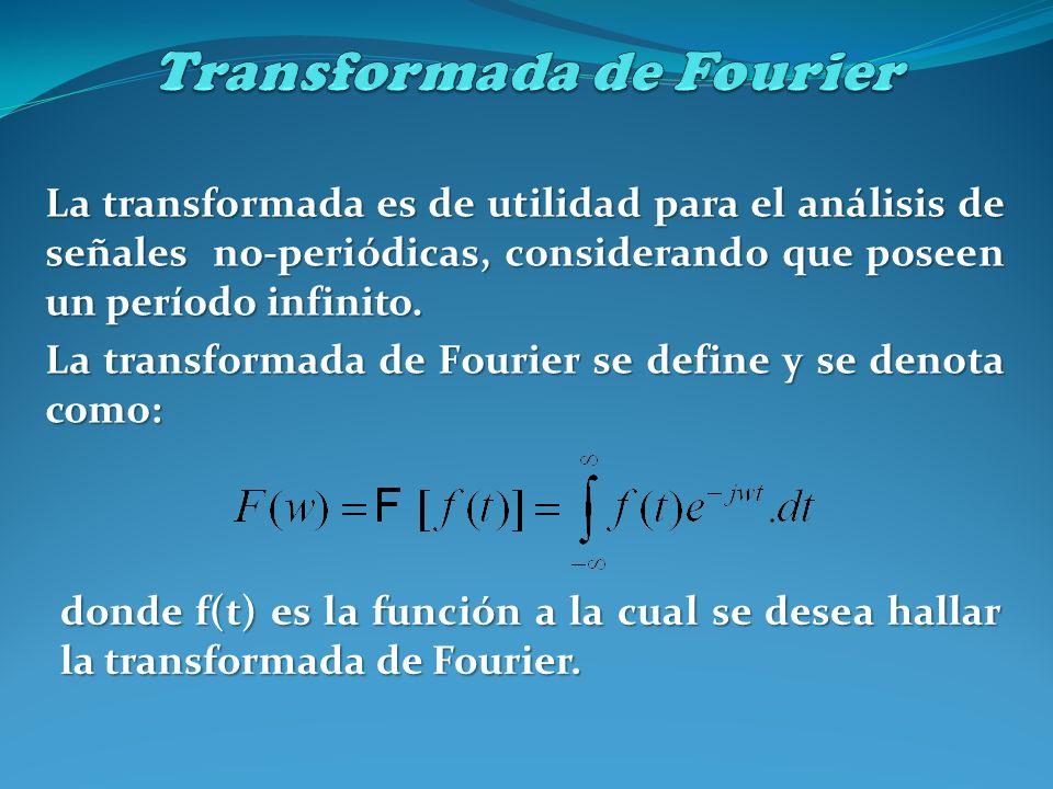 La transformada es de utilidad para el análisis de señales no-periódicas, considerando que poseen un período infinito. La transformada de Fourier se d