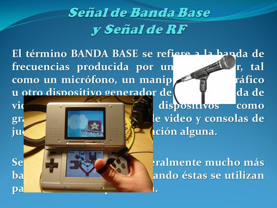 El término BANDA BASE se refiere a la banda de frecuencias producida por un transductor, tal como un micrófono, un manipulador telegráfico u otro disp