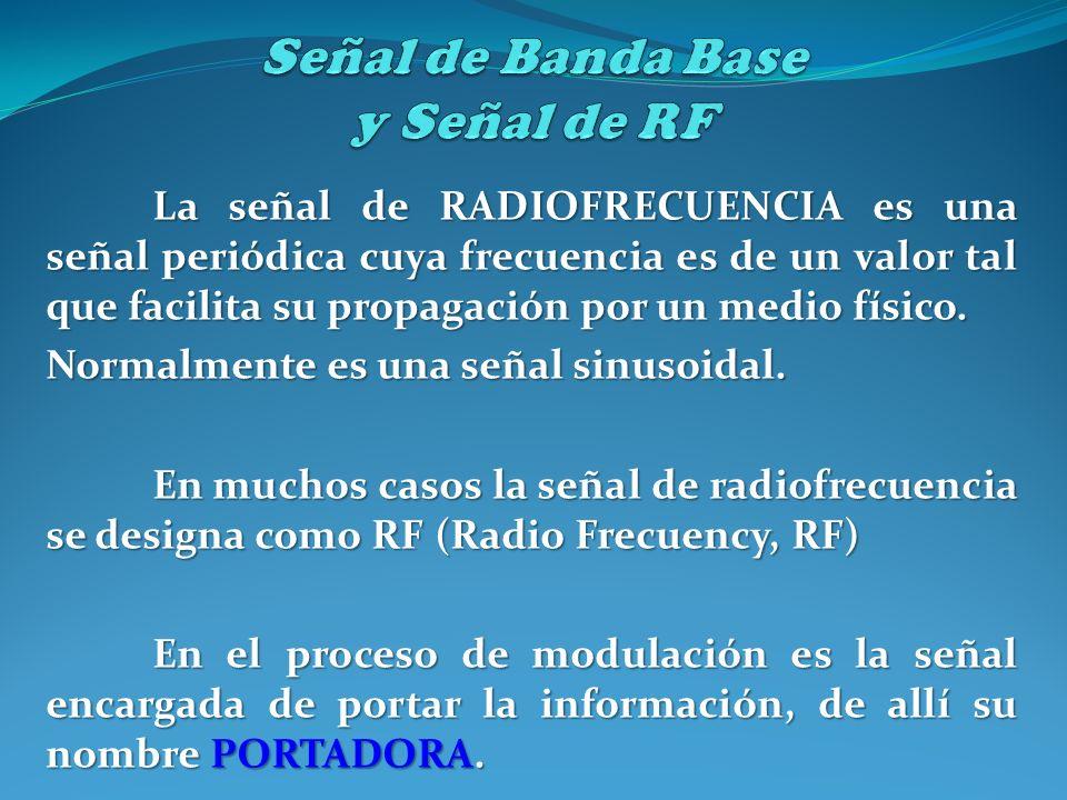 La señal de RADIOFRECUENCIA es una señal periódica cuya frecuencia es de un valor tal que facilita su propagación por un medio físico. Normalmente es