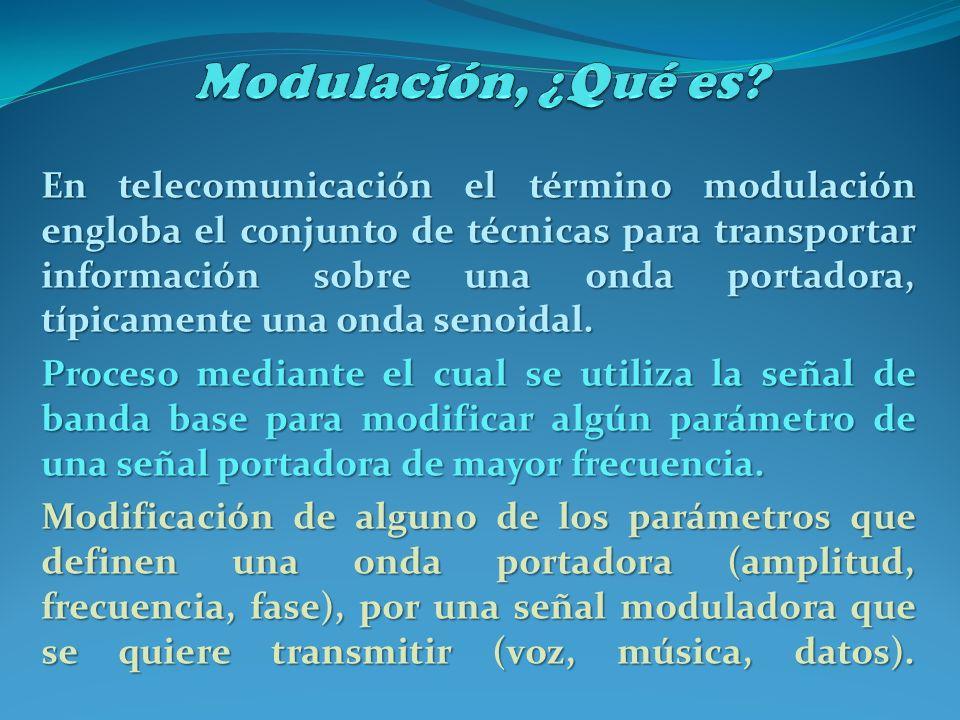 En telecomunicación el término modulación engloba el conjunto de técnicas para transportar información sobre una onda portadora, típicamente una onda