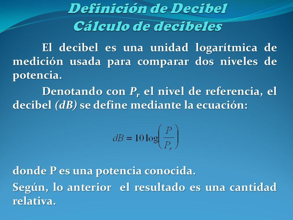 El decibel es una unidad logarítmica de medición usada para comparar dos niveles de potencia. Denotando con P r el nivel de referencia, el decibel (dB