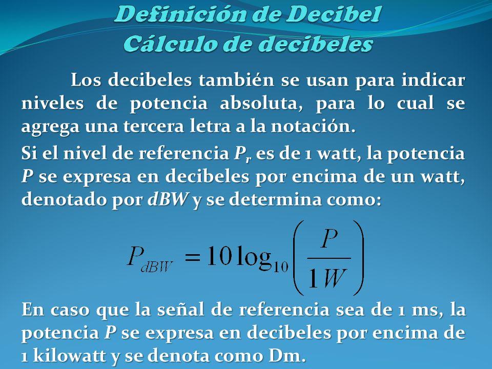 Los decibeles también se usan para indicar niveles de potencia absoluta, para lo cual se agrega una tercera letra a la notación. Si el nivel de refere