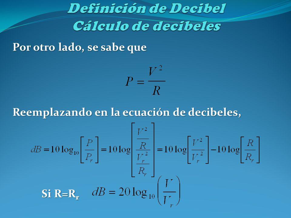 Por otro lado, se sabe que Reemplazando en la ecuación de decibeles, Si R=R r