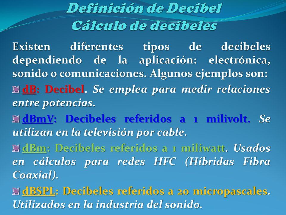 Existen diferentes tipos de decibeles dependiendo de la aplicación: electrónica, sonido o comunicaciones. Algunos ejemplos son: dB: Decibel. Se emplea