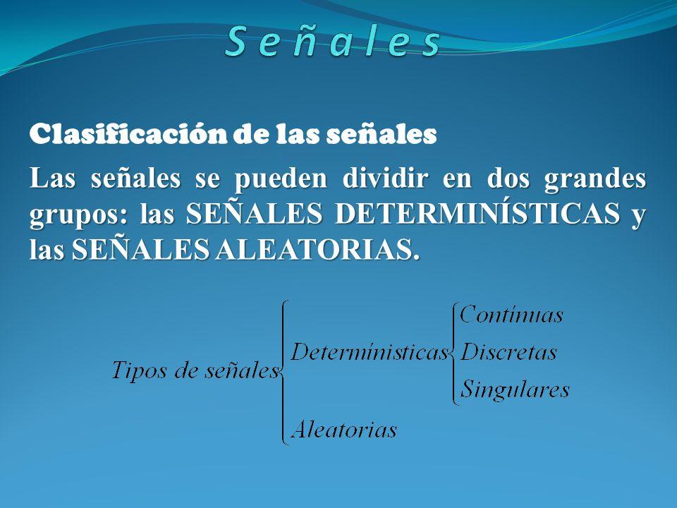 Clasificación de las señales Las señales se pueden dividir en dos grandes grupos: las SEÑALES DETERMINÍSTICAS y las SEÑALES ALEATORIAS.