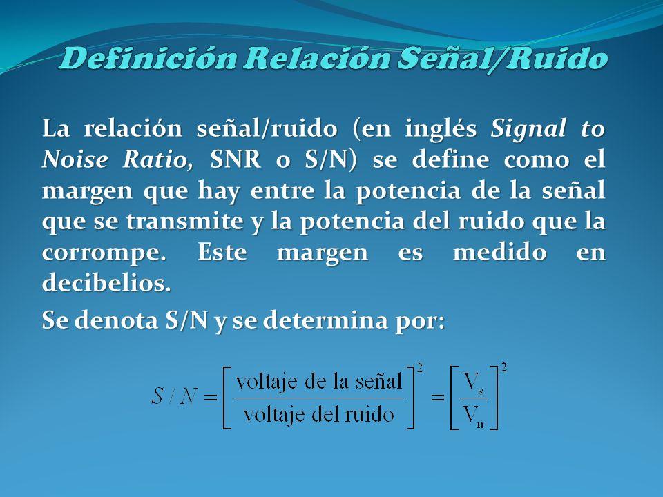 La relación señal/ruido (en inglés Signal to Noise Ratio, SNR o S/N) se define como el margen que hay entre la potencia de la señal que se transmite y
