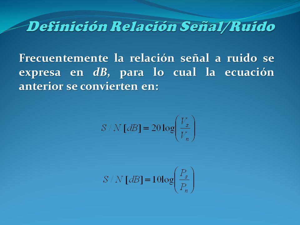 Frecuentemente la relación señal a ruido se expresa en dB, para lo cual la ecuación anterior se convierten en: