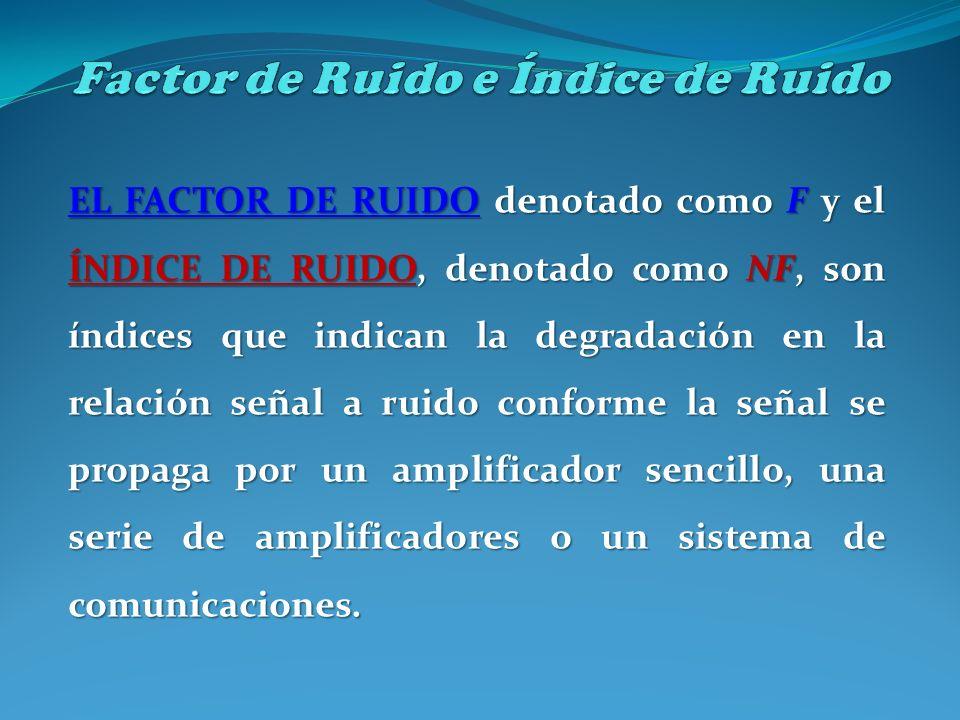 EL FACTOR DE RUIDO denotado como F y el ÍNDICE DE RUIDO, denotado como NF, son índices que indican la degradación en la relación señal a ruido conform