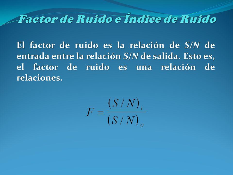 El factor de ruido es la relación de S/N de entrada entre la relación S/N de salida. Esto es, el factor de ruido es una relación de relaciones.