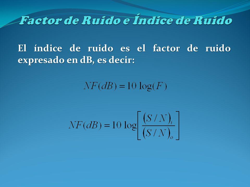 El índice de ruido es el factor de ruido expresado en dB, es decir: