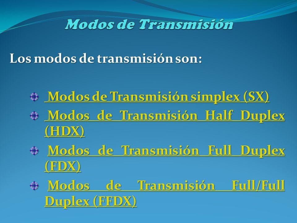 Los modos de transmisión son: Modos de Transmisión simplex (SX) Modos de Transmisión simplex (SX) Modos de Transmisión Half Duplex (HDX) Modos de Tran