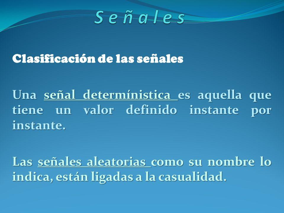 Clasificación de las señales Una señal determínistica es aquella que tiene un valor definido instante por instante. Las señales aleatorias como su nom