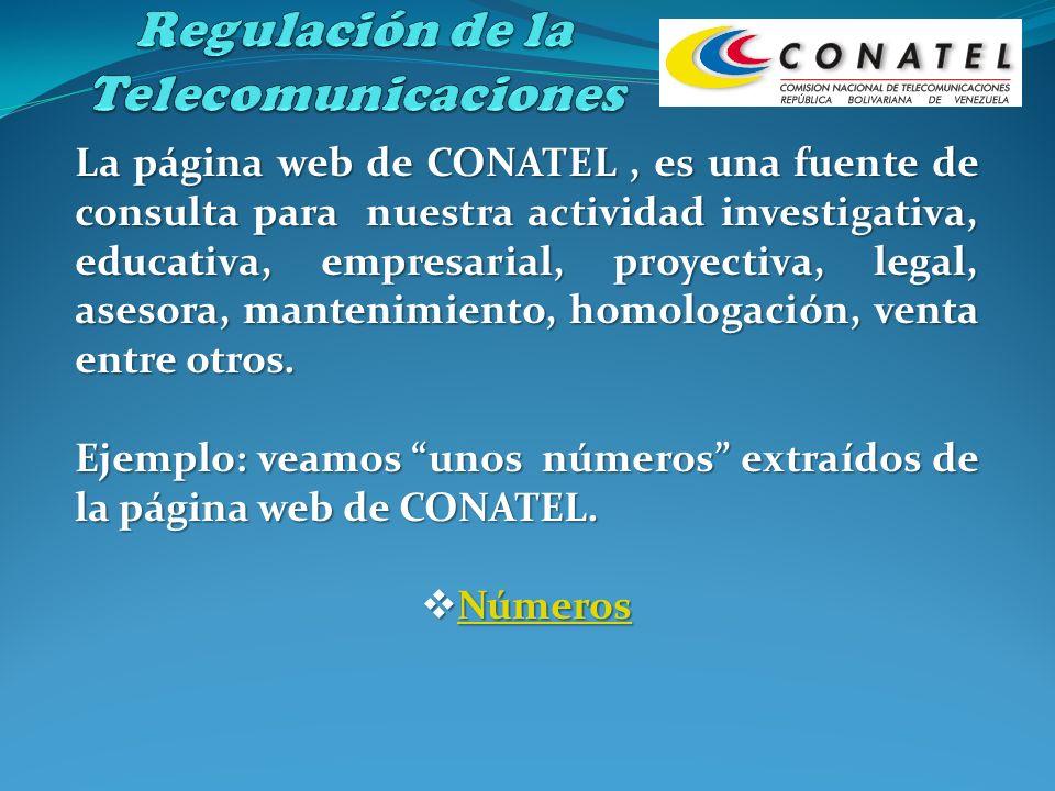 La página web de CONATEL, es una fuente de consulta para nuestra actividad investigativa, educativa, empresarial, proyectiva, legal, asesora, mantenim