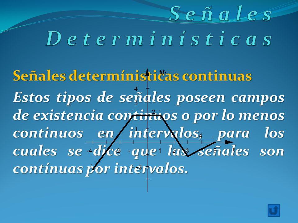 Señales determínisticas continuas Estos tipos de señales poseen campos de existencia continuos o por lo menos continuos en intervalos, para los cuales