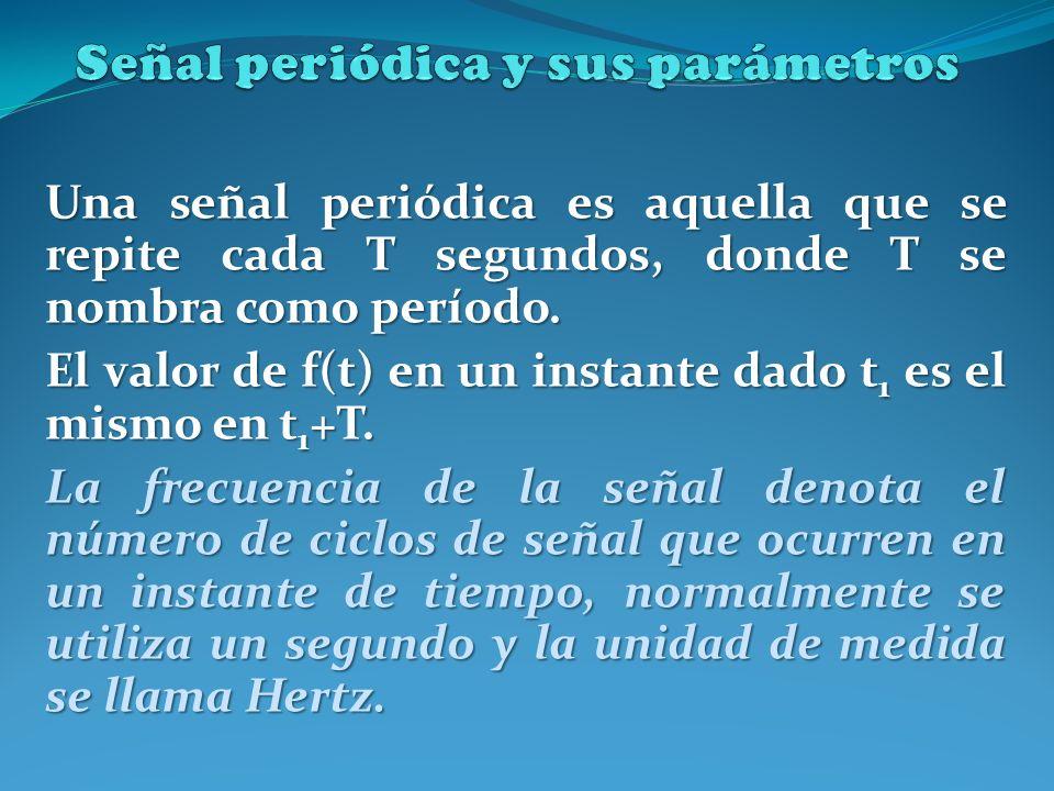 Una señal periódica es aquella que se repite cada T segundos, donde T se nombra como período. El valor de f(t) en un instante dado t 1 es el mismo en